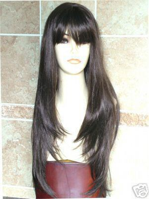 Womens Accessories long black Straight hair wigs