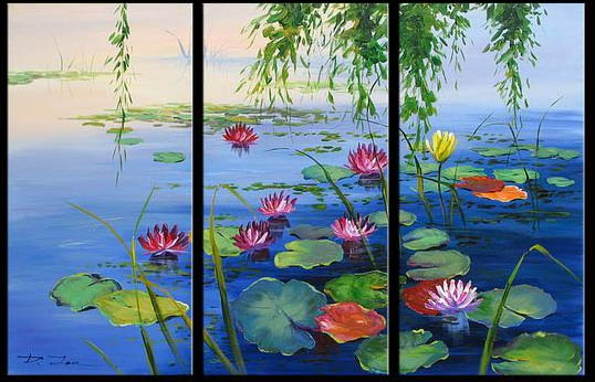 Framed 3 panel canvas wall art koi fish chinese painting feng shui home decor a0816